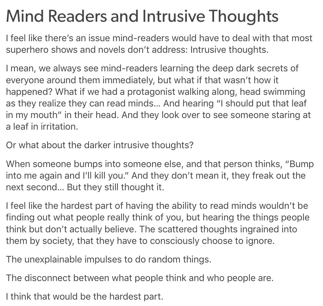 Mind Readers And Intrusive Thoughts How Do You Tell Who People