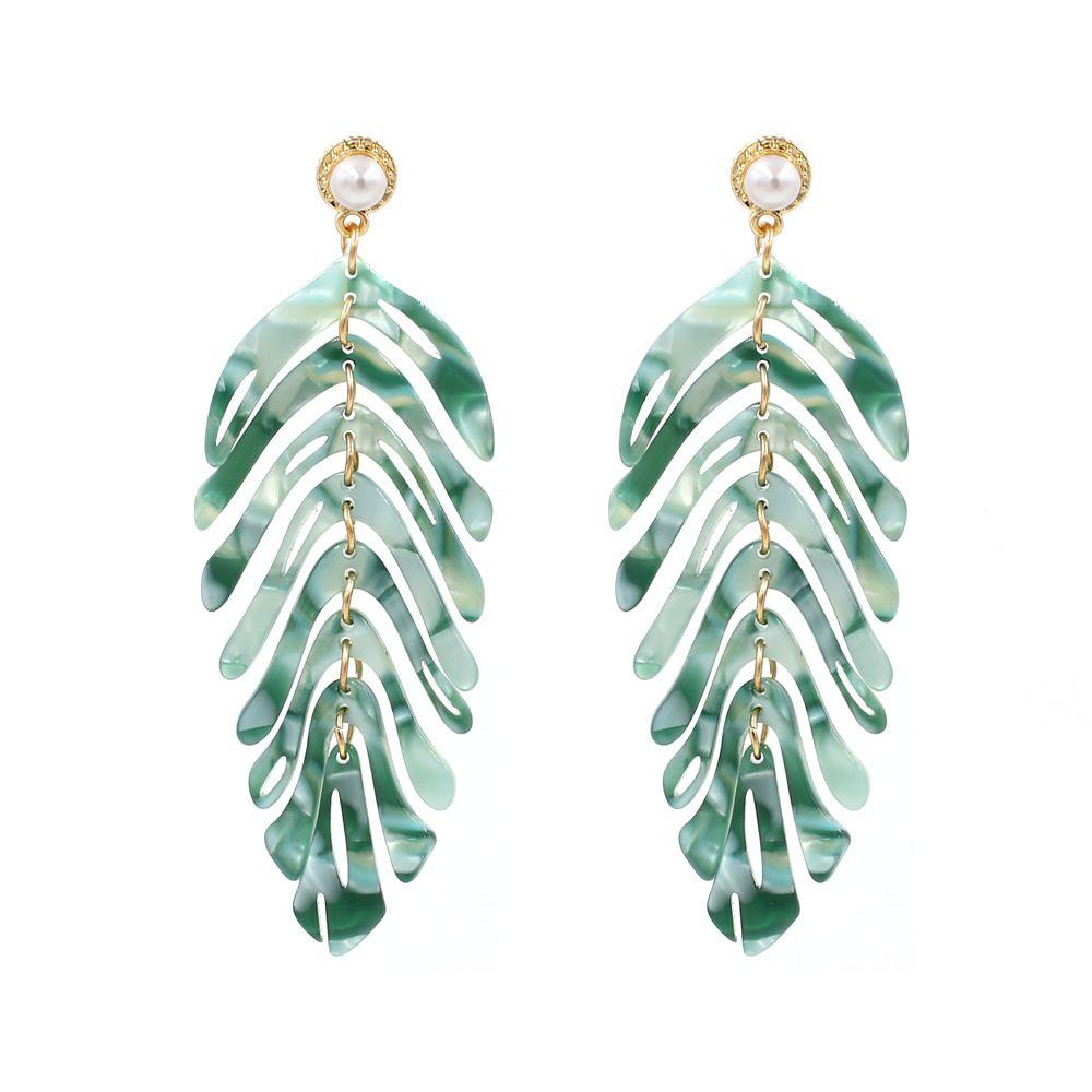 Hand Cast Acrylic Resin Gold Leaf Arch Earrings Boho Handmade