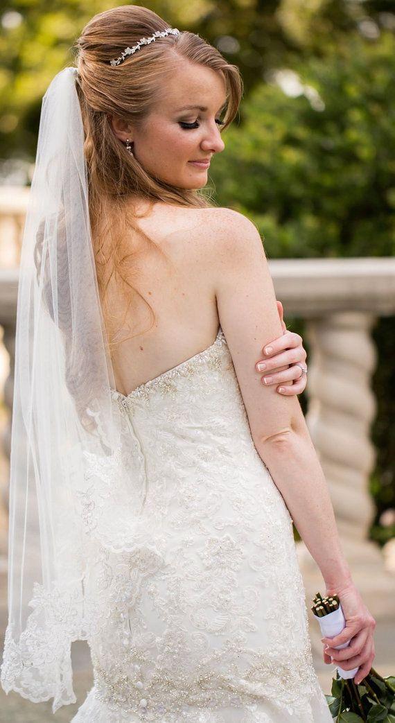 One Tier Beaded Lace Edge Veil with Metal by Simplyweddingveils