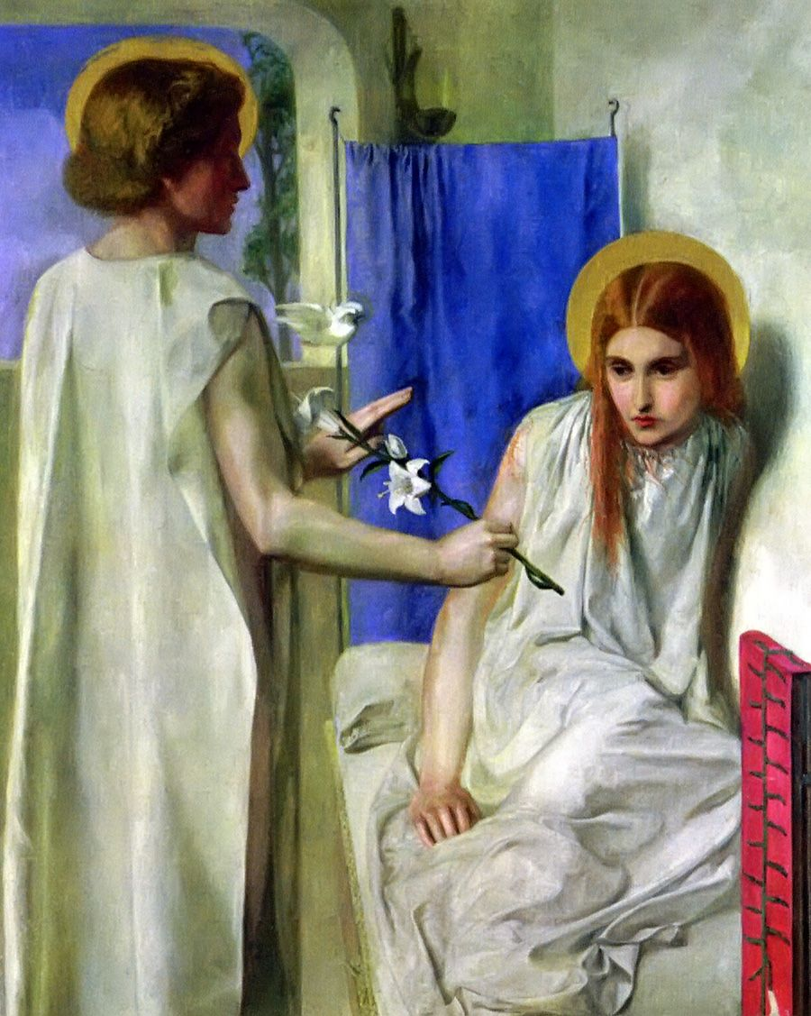 The annunciation of Mary by Dante Gabriel Rossetti.  I love this because of her frailty and humility.  This image doesn't glorify Mary (as all glory should go to her Saviour, Jesus Christ), it emphasizes her suitability as God's vessel to carry His Son.