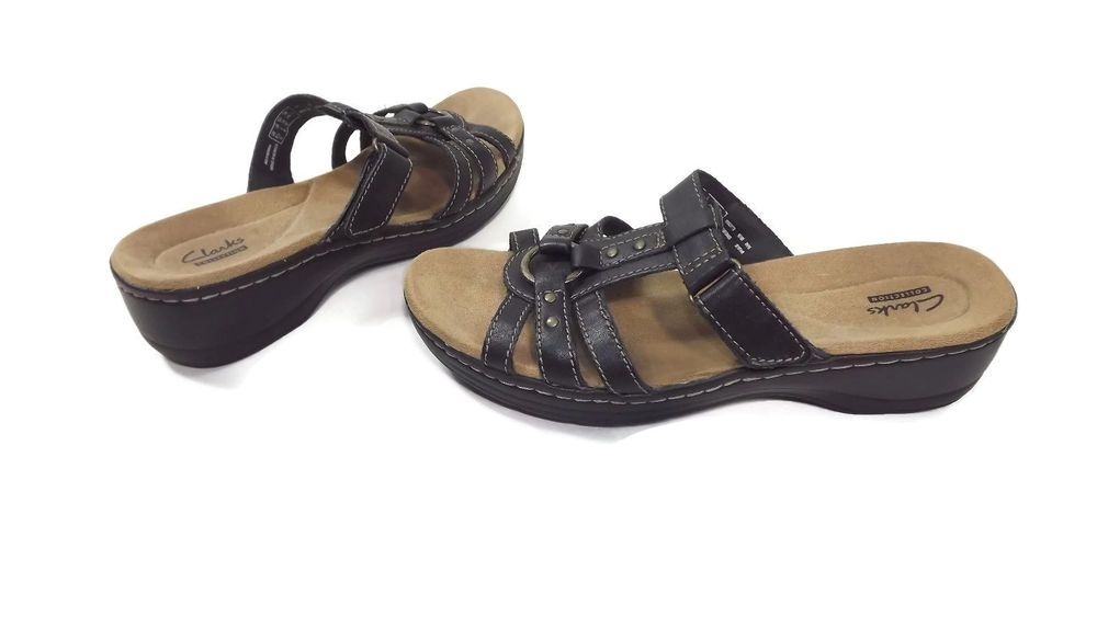 CLARKS Collection Womens Mules Sandals Shoes Size 8 M Dark Brown Comfy Soles