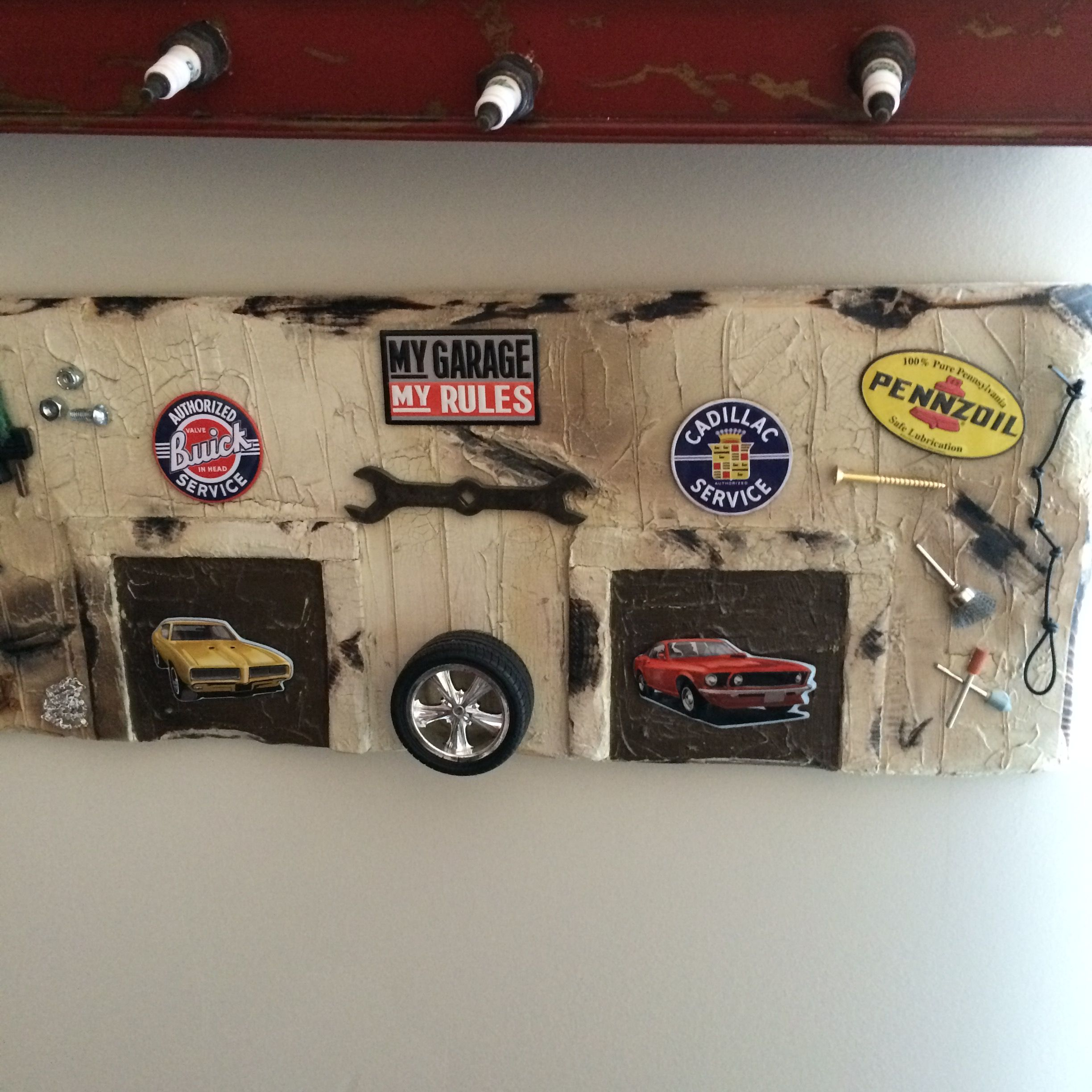 I made this wooden picture for Greys room. Vintage Car and truck ...