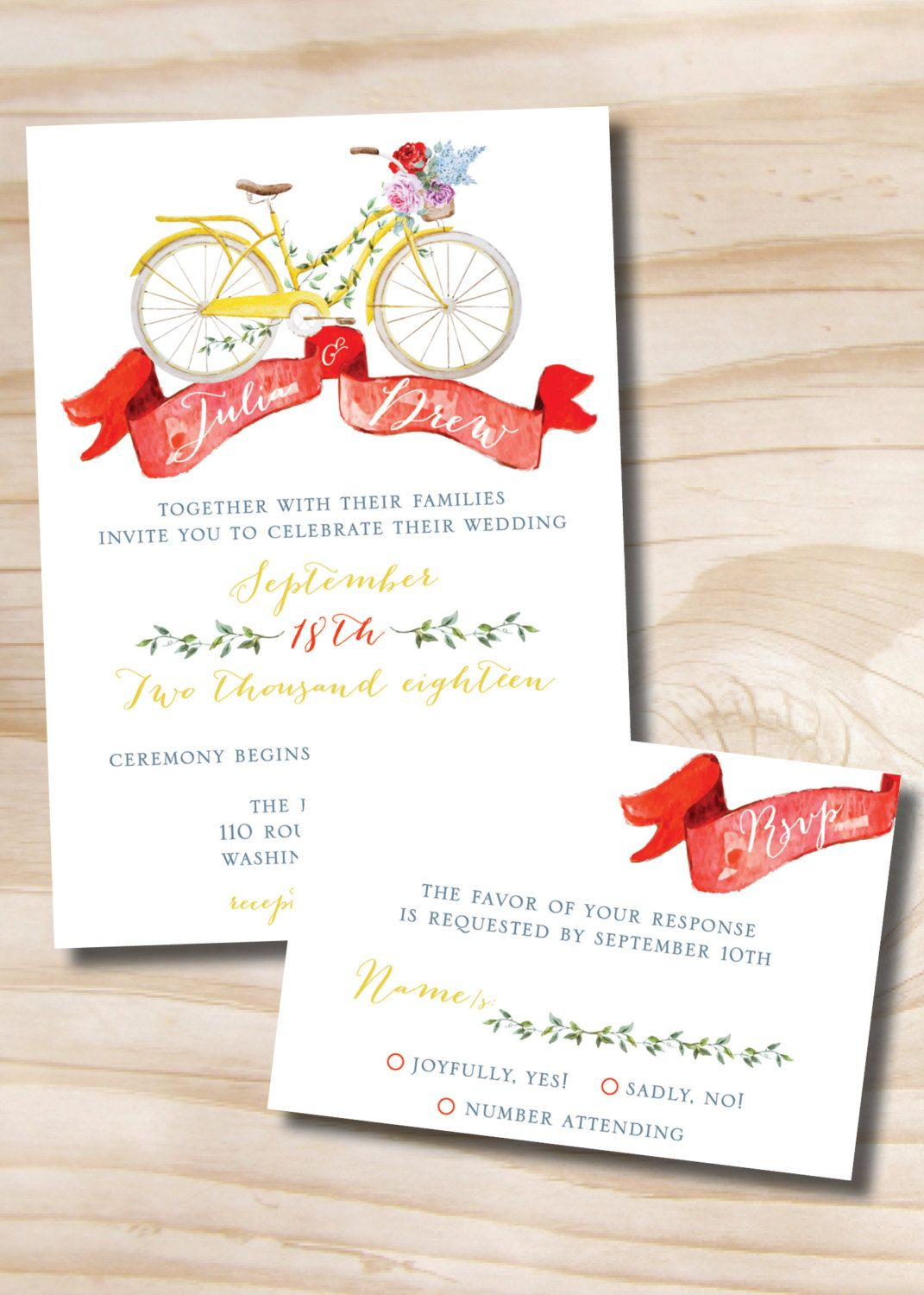 Watercolor Bicycle Wedding Invitation and Response Card RSVP - 100 ...