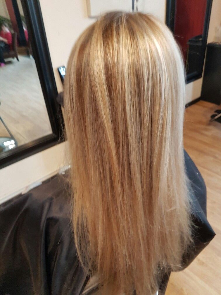 Platinum Blonde Highlights With Caramel Low Lights With Olaplex