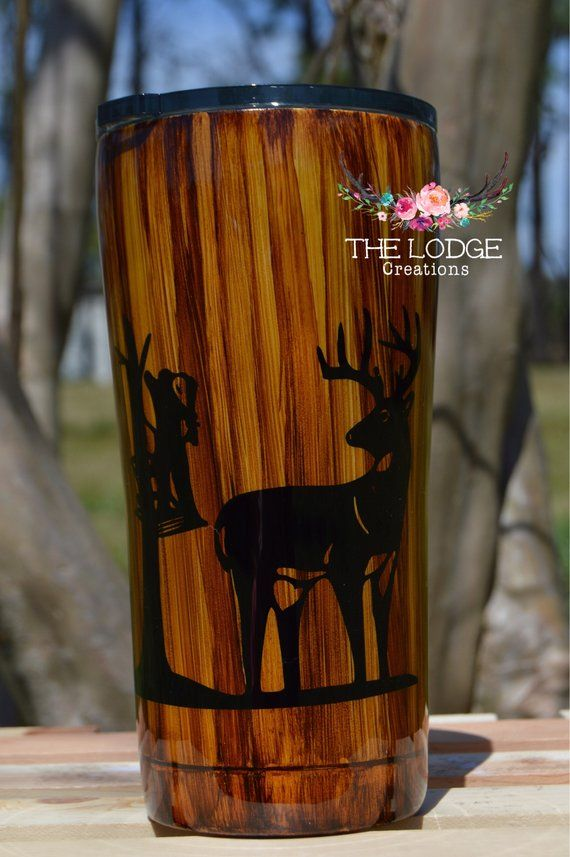 94a8219a16c Wood Grain Tumbler with Deer or fish Scene, customizable ...