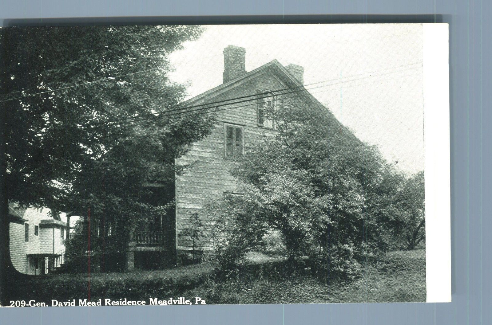 View Of General David Mead Residence Meadville Pennsylvania Historical Place Views Postcard