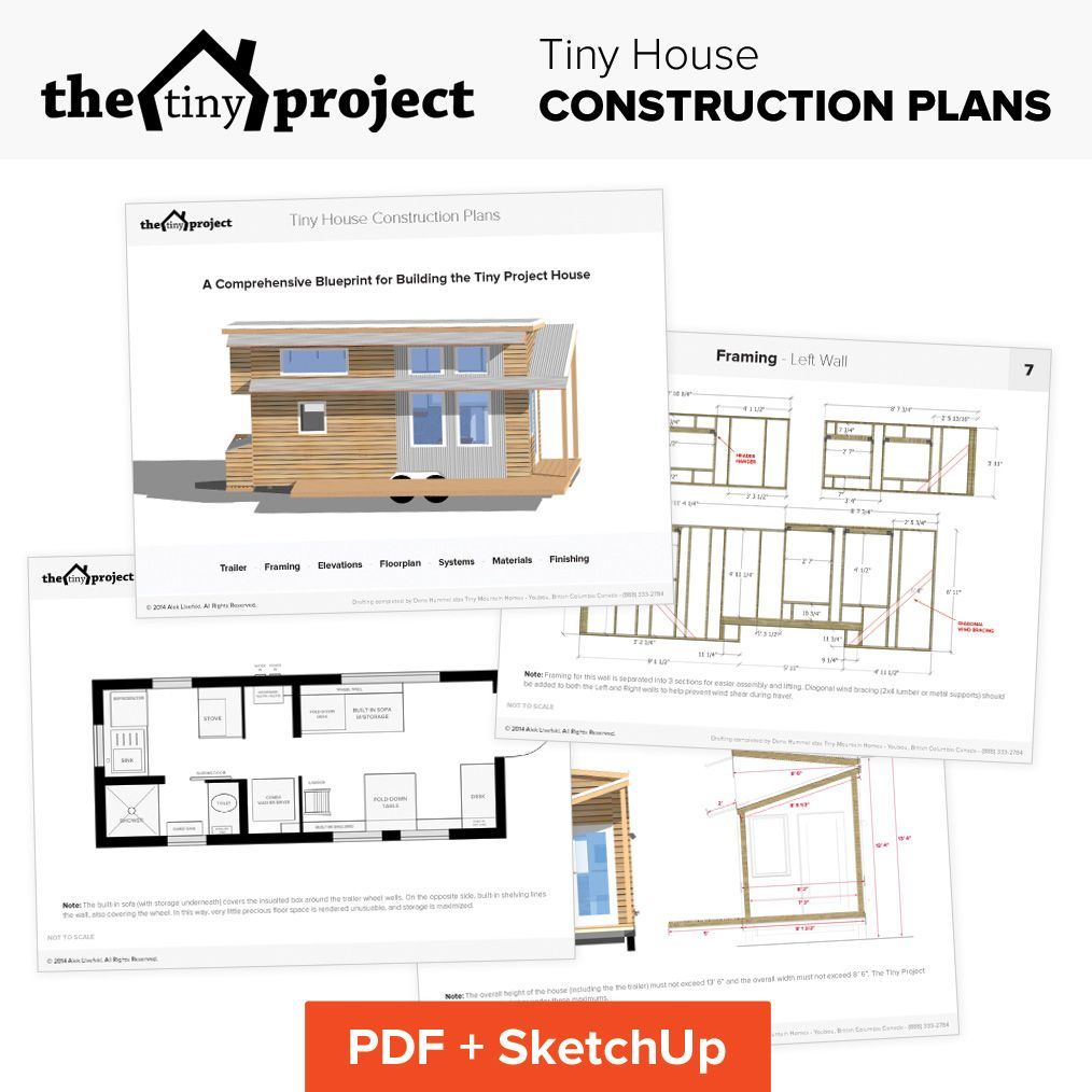 Tiny house on wheels floor plans blueprint for construction tiny these construction plans offer complete blueprints to build your own tiny house to the exact same specifications as our original modern tiny house on malvernweather Image collections