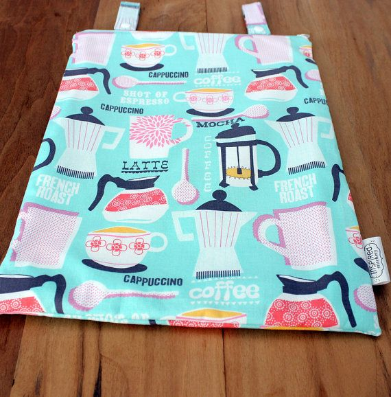 Hanging Kitchen Wetbag French Roast on Aqua print, ready to ship on Etsy, $19.00