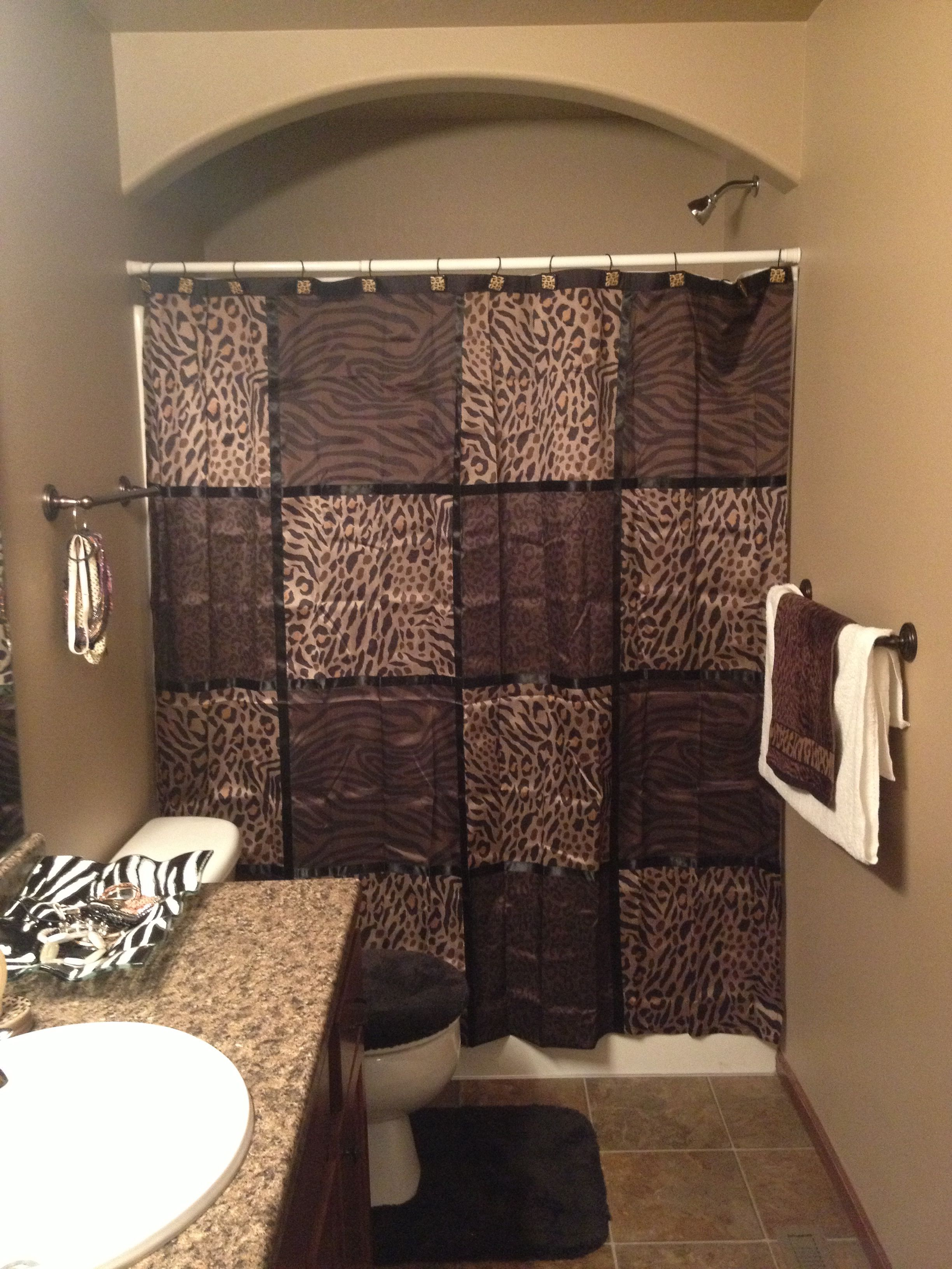 Bathroom brown and cheetah decor Love this