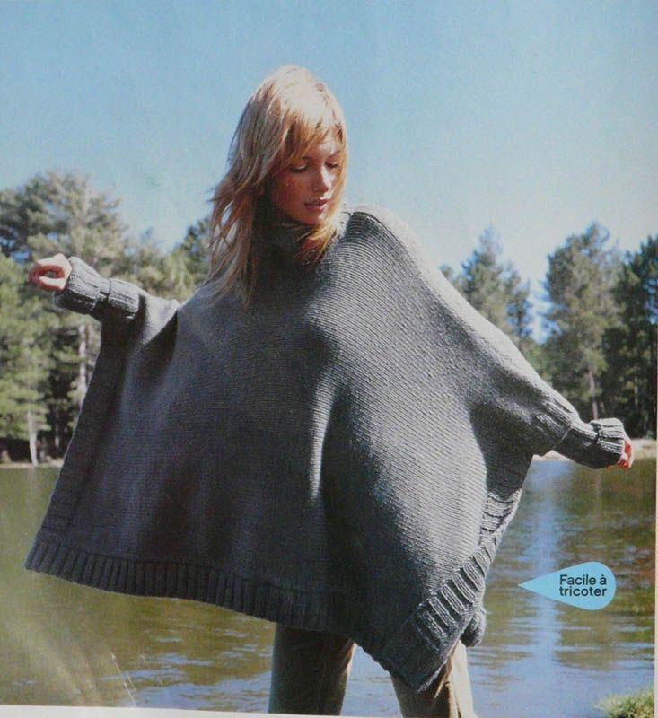 modèle tricot veste poncho | tricot/couture | Pinterest | Tricot, Puncho tricot et Modele tricot
