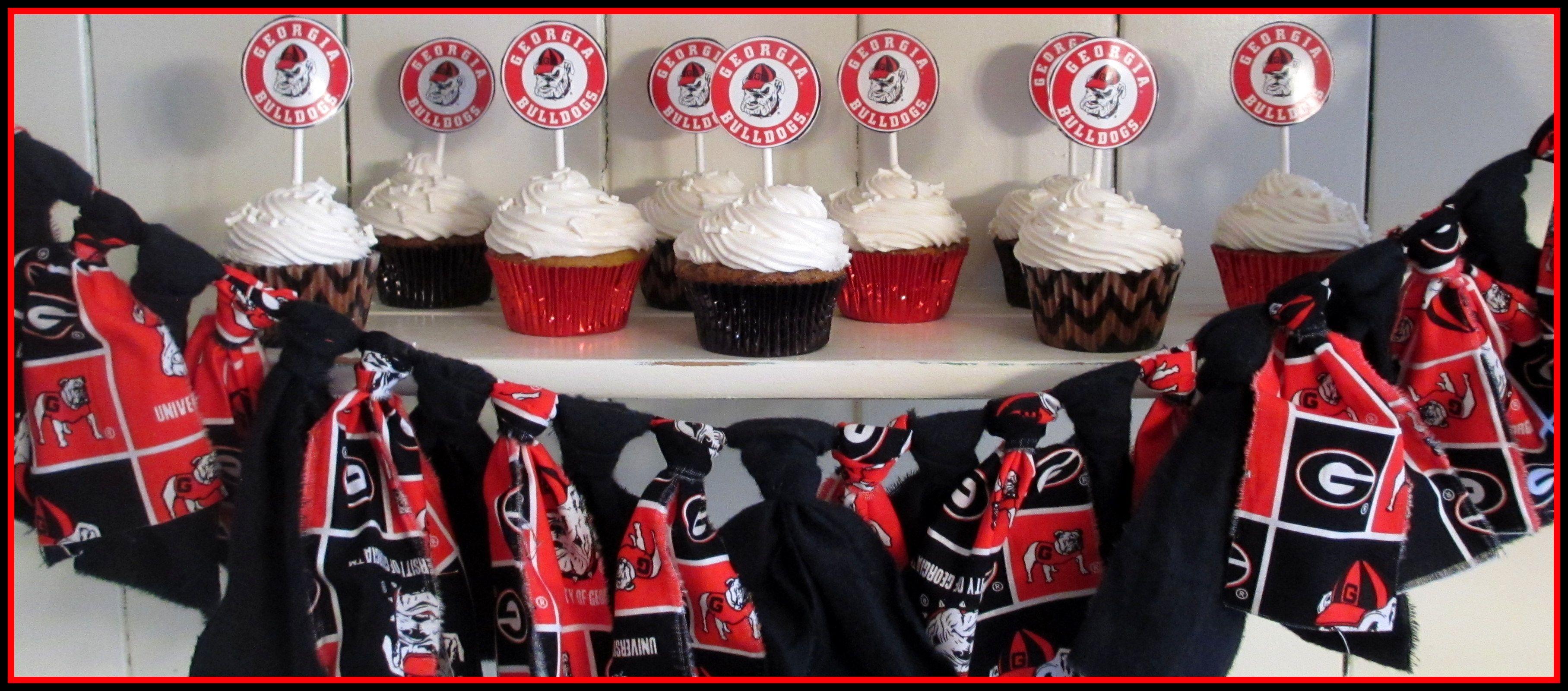 Uga University Of Georgia Bulldogs Cupcakes Dawgs White Dog Bone