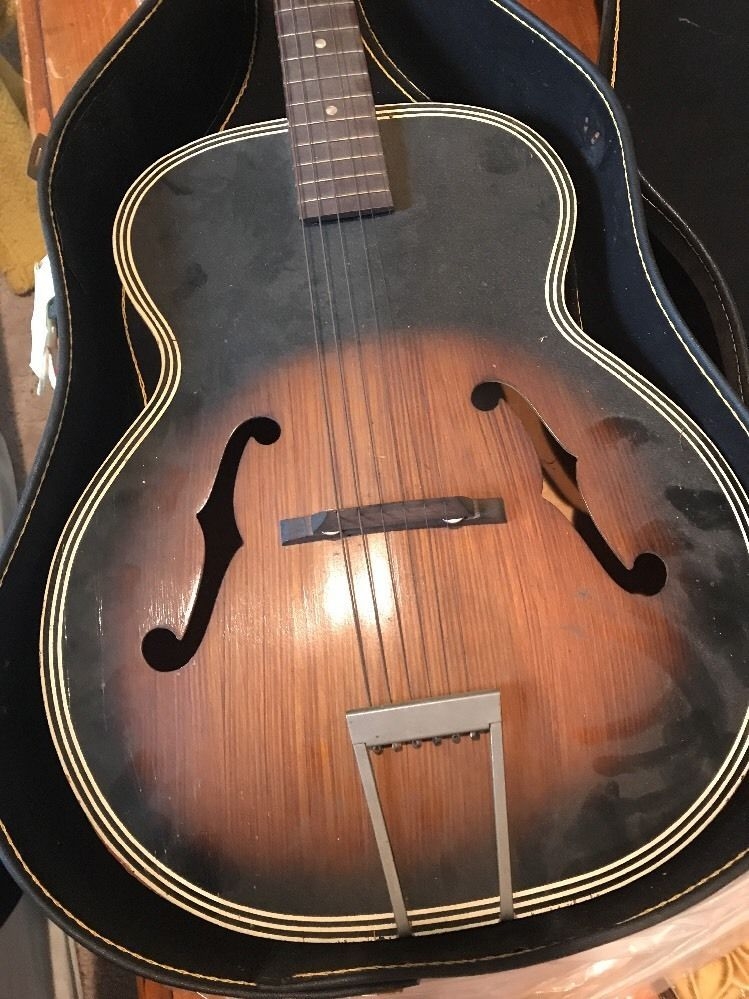 Vintage Harmony F Hole Archtop Acoustic Guitar Project Restoration W Case Archtop Acoustic Guitar Guitar Acoustic