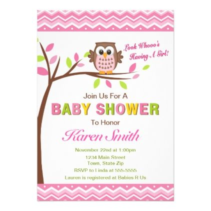 Owl Girl Baby Shower Invitation Pink Owl Baby baby gifts child new
