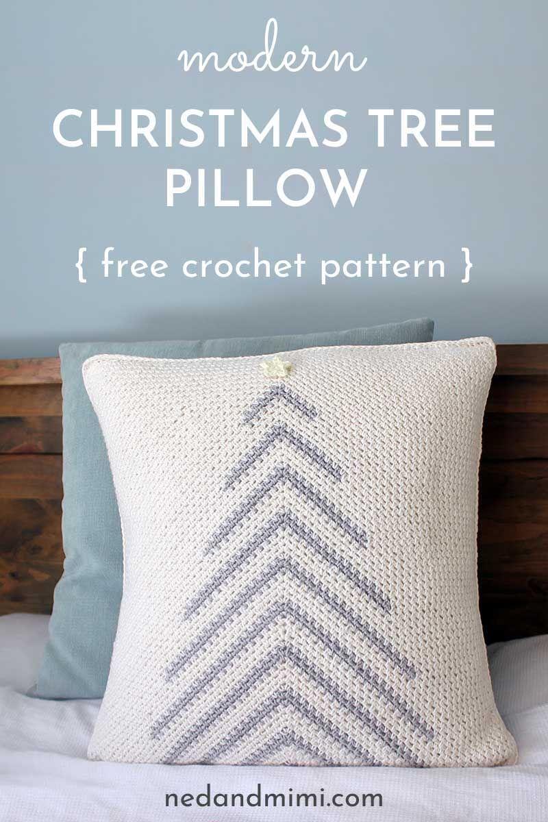 Modern Crochet Christmas Tree Pillow Free Pattern Ned Mimi Christmas Tree Pillow Crochet Pillow Patterns Free Crochet Pillow Cover