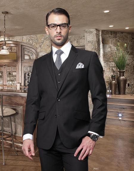 2 Button Black Suit with a Vest Super 150's Italian Wool Pick ...