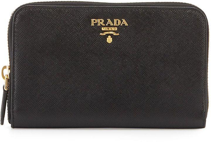 6e734ccd5dace9 Prada Saffiano Leather French Wallet, Black (Nero)   Women wallets ...