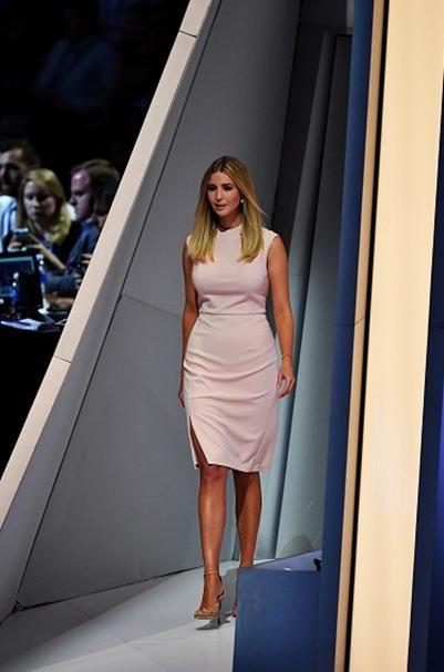 c82a4cb1eec Ivanka Trump wearing Stuart Weitzman Nudist Sandals and Ivanka Trump Sheath  Dress in Blush