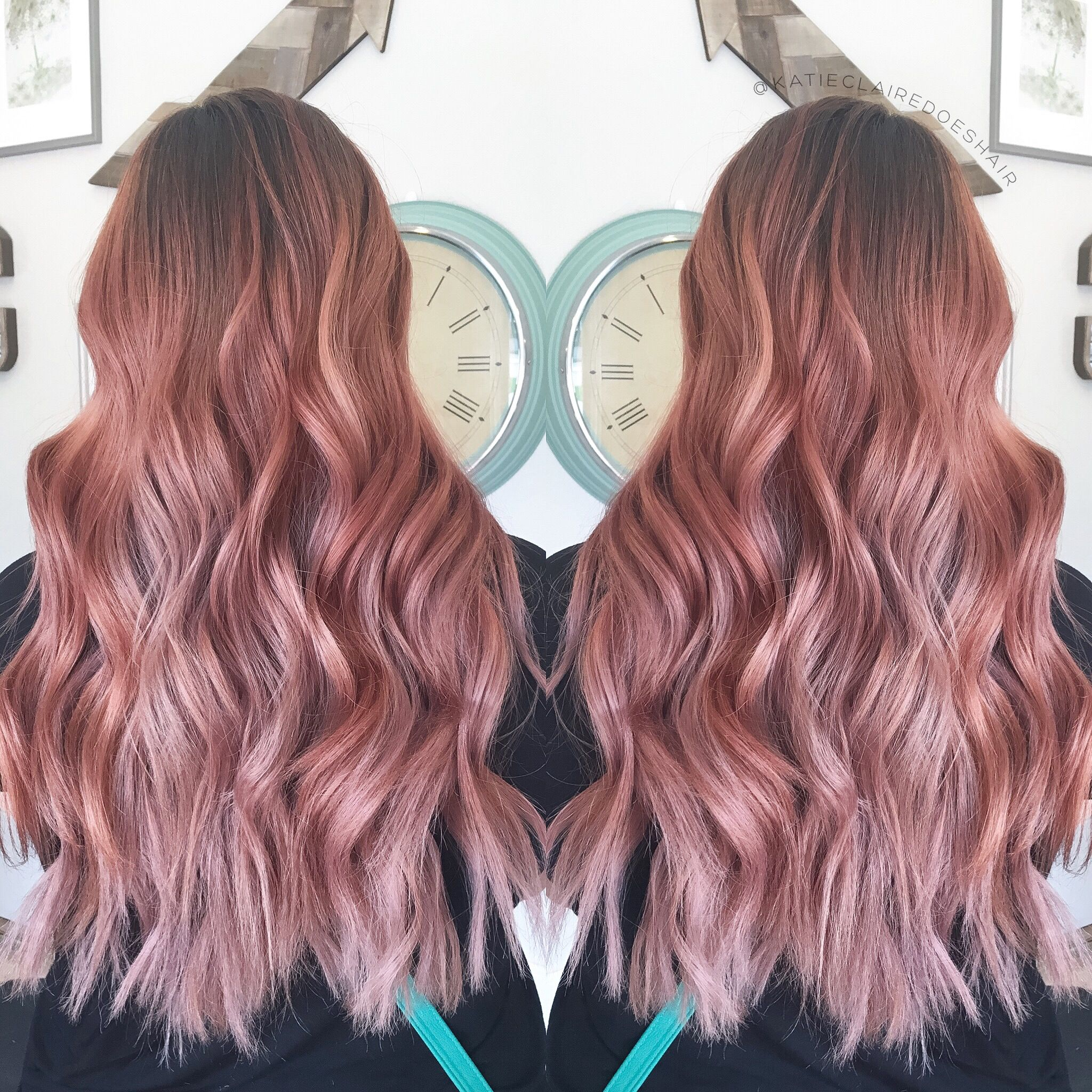 Dusty Rose hair // balayage // rose gold // rosey hair // pink hair // beach waves // long hair