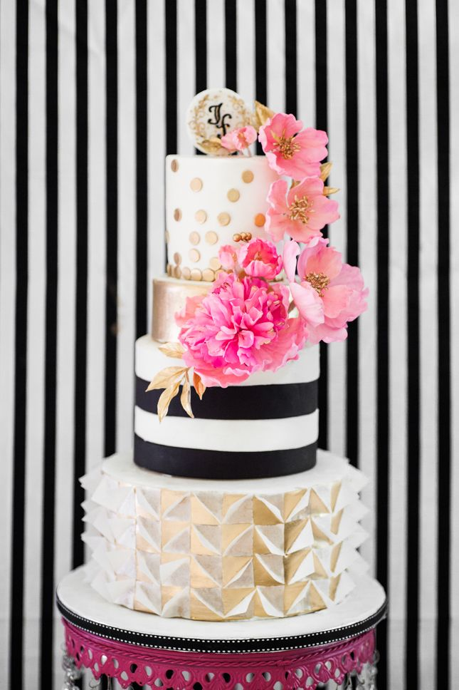 Kate spade inspired birthday party birthday cakes cake for Dots and stripes party theme