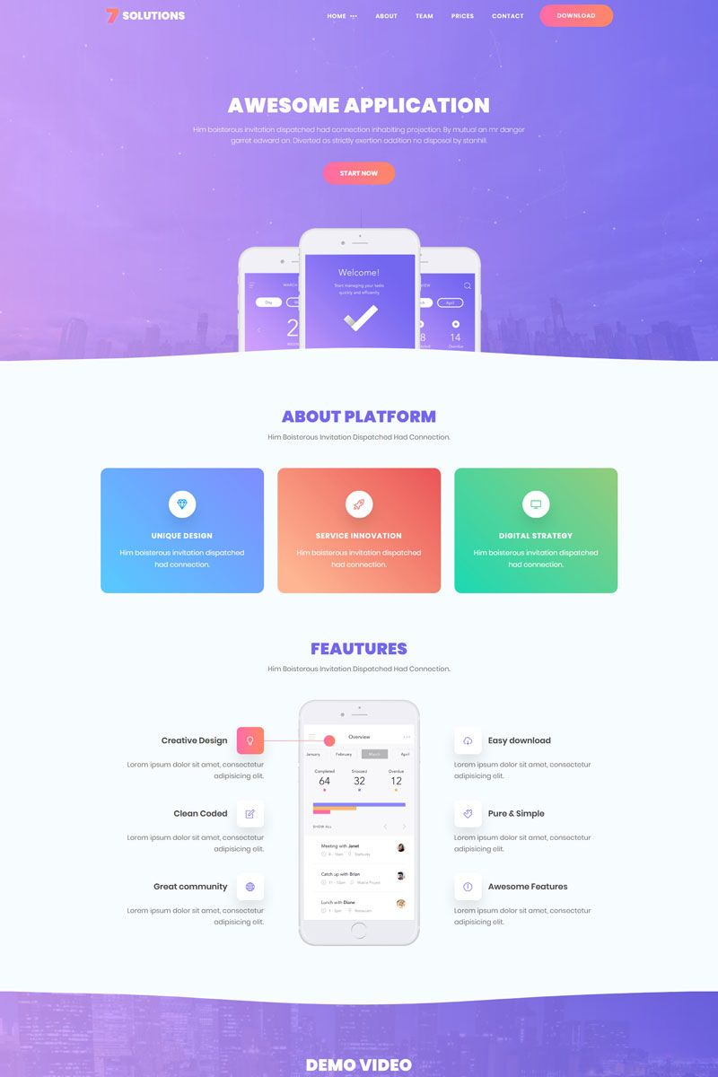 7 Solutions Creative Mobile App Landing Page Template Landingpage Mobile Creative Solutions App Landing Page Landing Page Website Inspiration