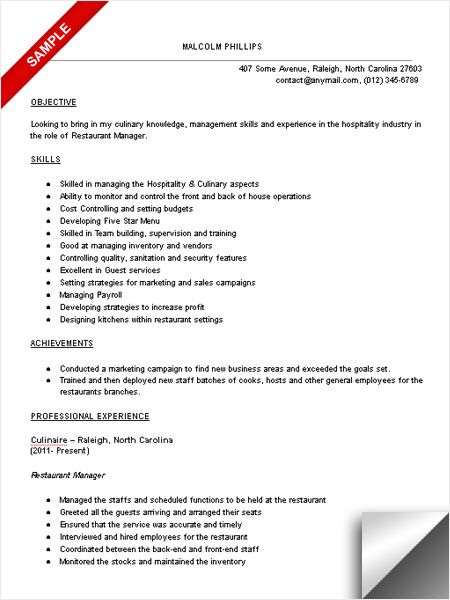Restaurant Resume Objective 11 Sample Resume For Restaurant Manager  Riez Sample Resumes