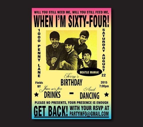 Printable Beatles Invitation The Beatles Party Invite Vintage