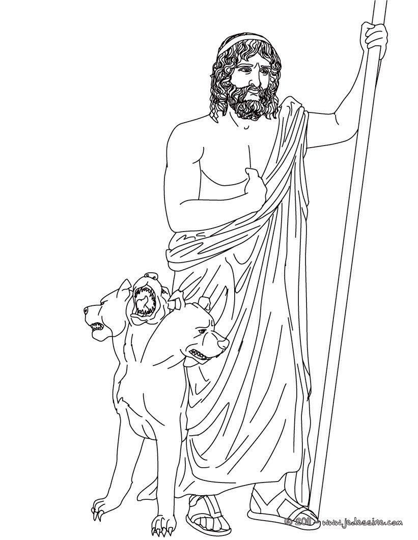 Voici Un Coloriage Historique Sur La Mythologie Grec Avec Le Hades Le Dieu Des Enfers Un Coloriage Original Pour Fai Dieux Grecs Coloriage Mythologie Grecque