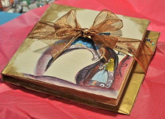 Alice in Wonderland Wedding Guest Book w/ Tea Stained Paper 10 by 10 inches