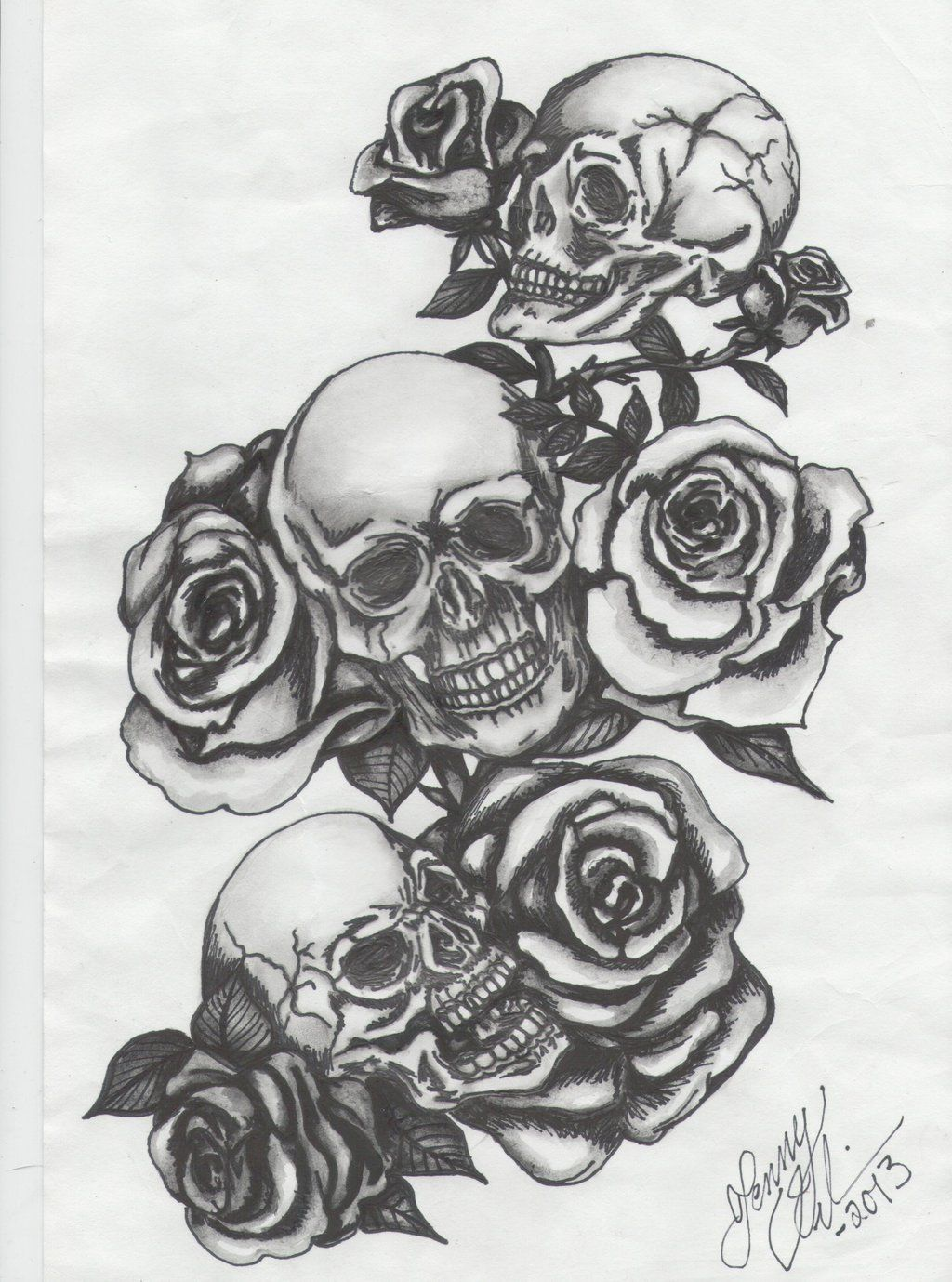 15f30268b097e Three skulls with roses by Jenny-Blue.deviantart.com on @deviantART. A  (cliche) composition of skulls and roses. Always a good combination.