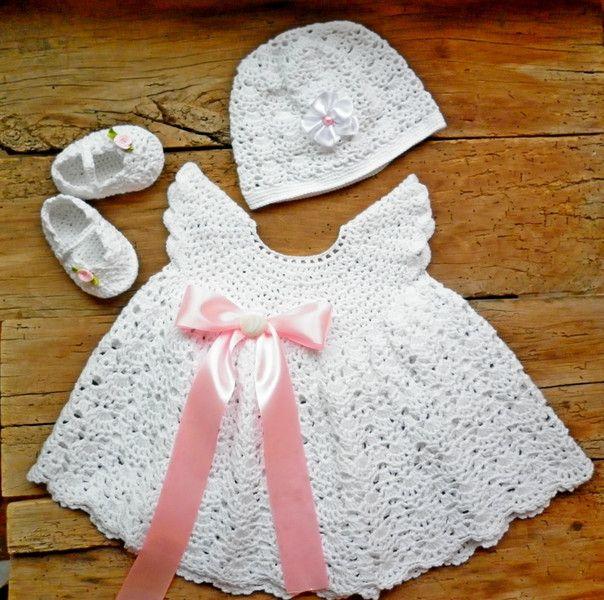 gesetzt neugeborenes Mädchen, Gehäkelte Babykleid | Crochet baby ...