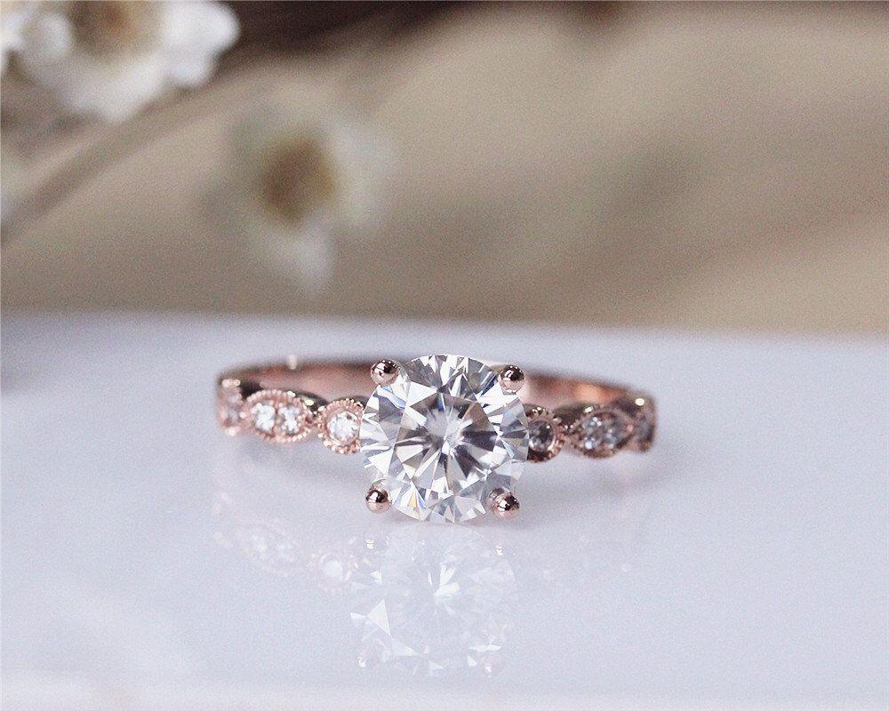 Forever brilliant moissanite ring solid k rose gold moissanite