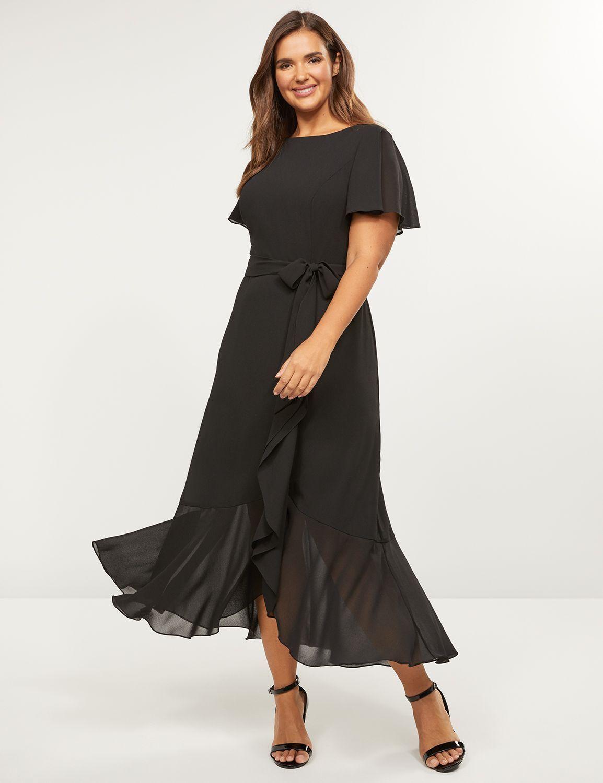 Flutter-Sleeve Midi Dress  Lane Bryant #blackmaxidress Flutter