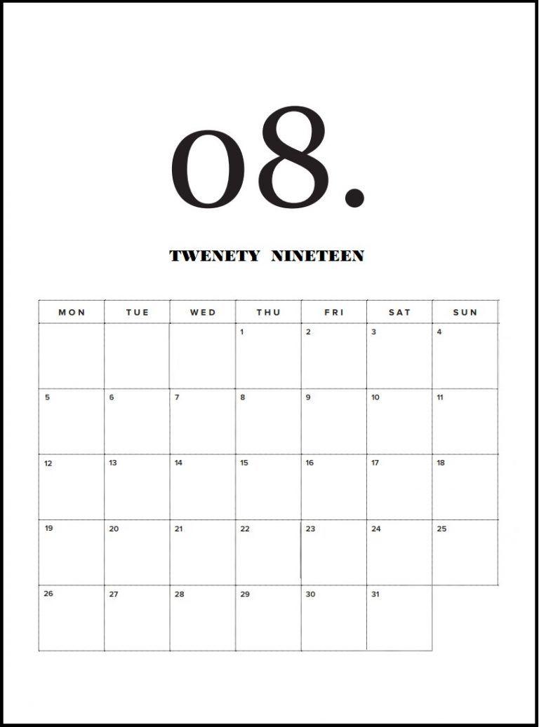 Modern Minimal 2019 Monthly Calendar Monthly Calendar Template