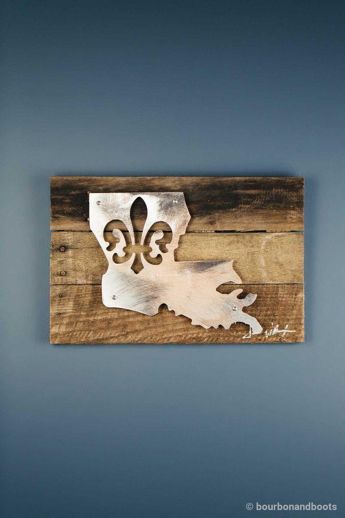 Louisiana fleur de lis reclaimed wood shaped metal art our house pinterest metals woods and art walls