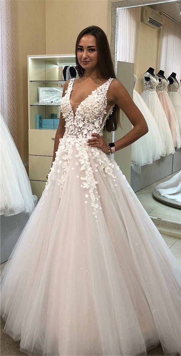 A-line V-neck sweep train white wedding dress with flowers - fashion dresses