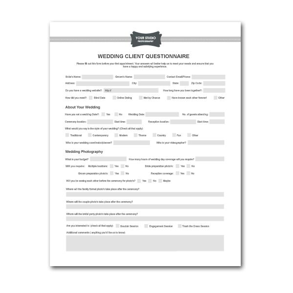 Printable Sample Wedding Photography Contract Template Form  Legal