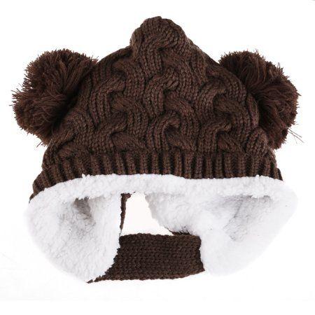 Baby Kids Girl Boy Knitted Hat Crochet Winter Warm Earmuffs Beanie Ball Cap  - Walmart.com d8e01886a31