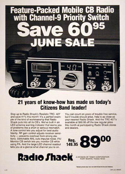 CB Radios from Radio Shack! | CB radio | Retro advertising