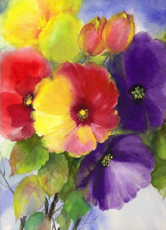 Aquarelle Originale Peinture Abstraite Floral Impressionniste 9 X