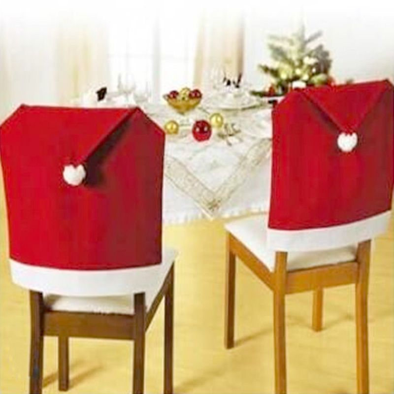Hot Sale 4 Pcs Fashion Santa Clause Red Hat Chair Back Cover Christmas  Dinner Table Party