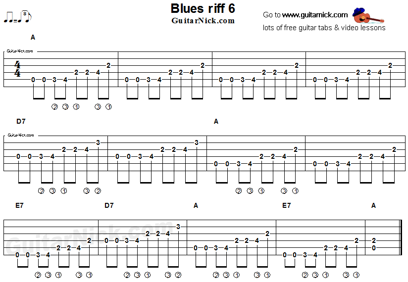 Acoustic flatpicking blues - guitar riff tab 6 | Guitar in