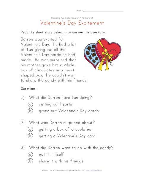 valentine 39 s day reading comprehension worksheet valentine 39 s day crafts worksheets. Black Bedroom Furniture Sets. Home Design Ideas
