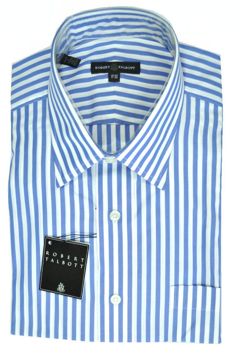 Robert Talbott Shirt Men Dress Shirt With White Blue Stripes Sale