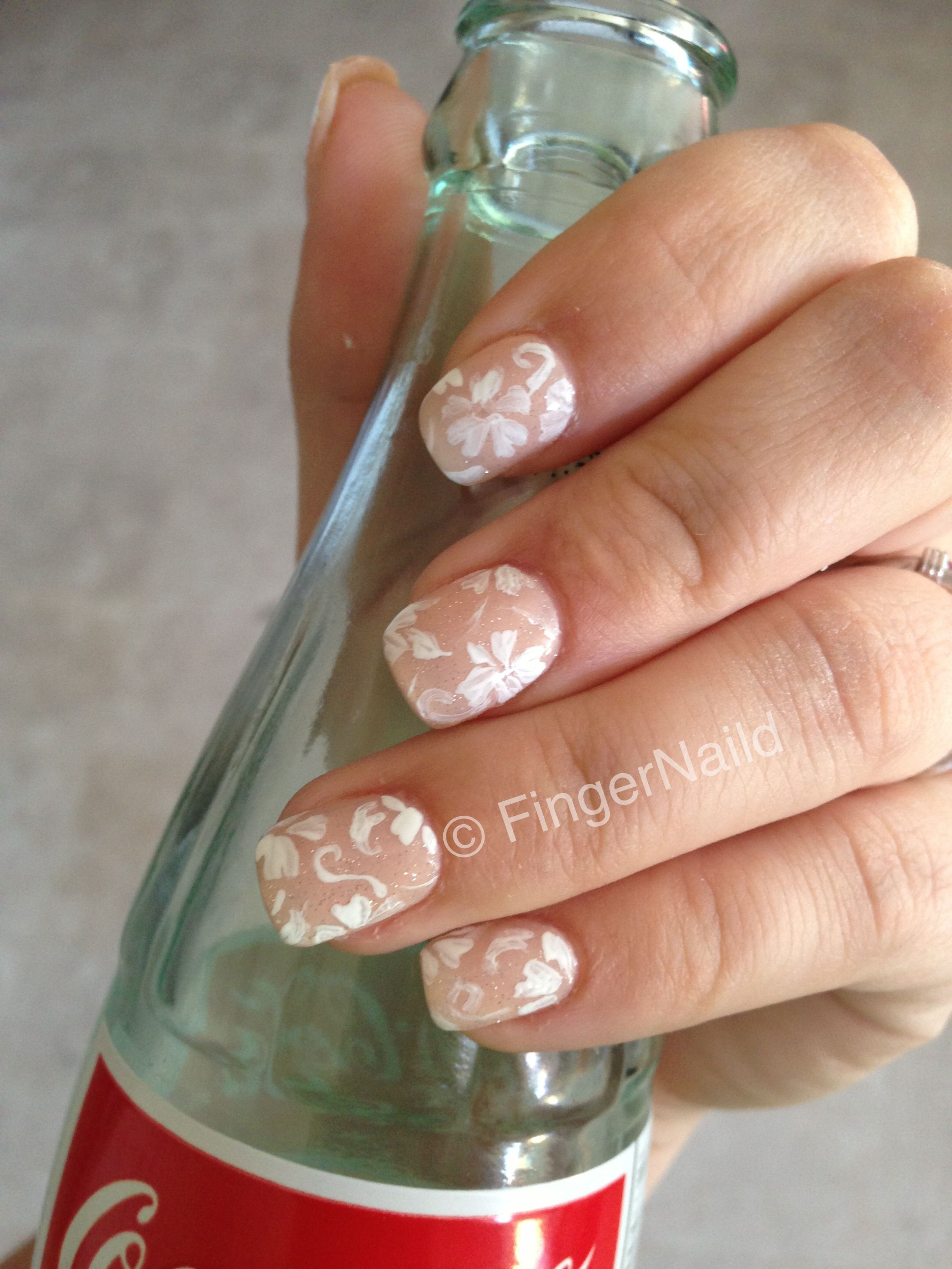 Robin Moses Inspired White Nude Floral Nail Design Wedding Nails