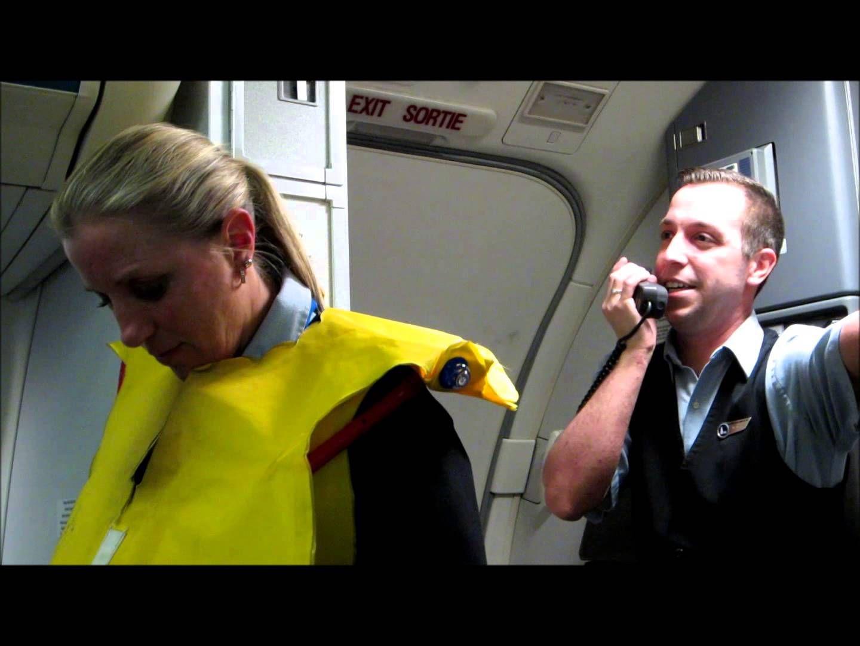 Part 1 Hilarious Westjet flight attendant before takeoff