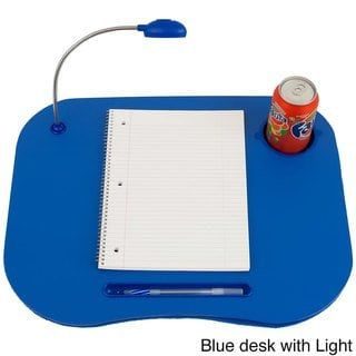 Laptop Lap Desk Portable with Foam Filled Fleece Cushion Cup LED Desk Light