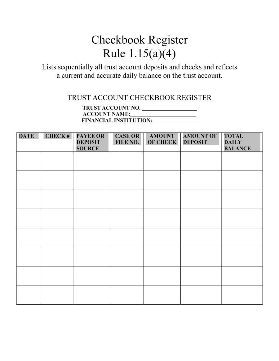 6+ Free Blank Business Checkbook Register Template Excel PDF Example ...