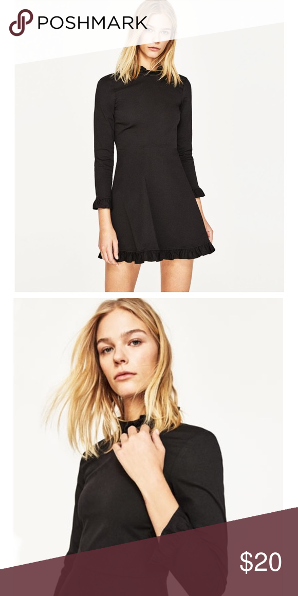 f46807da Zara Mini Sleeves Dress with Frills Frilled Neck mini dress with 3/4 length  sleeves with frilled cuffs. Frilled hem. Back zip fastening. Zara Dresses  Mini