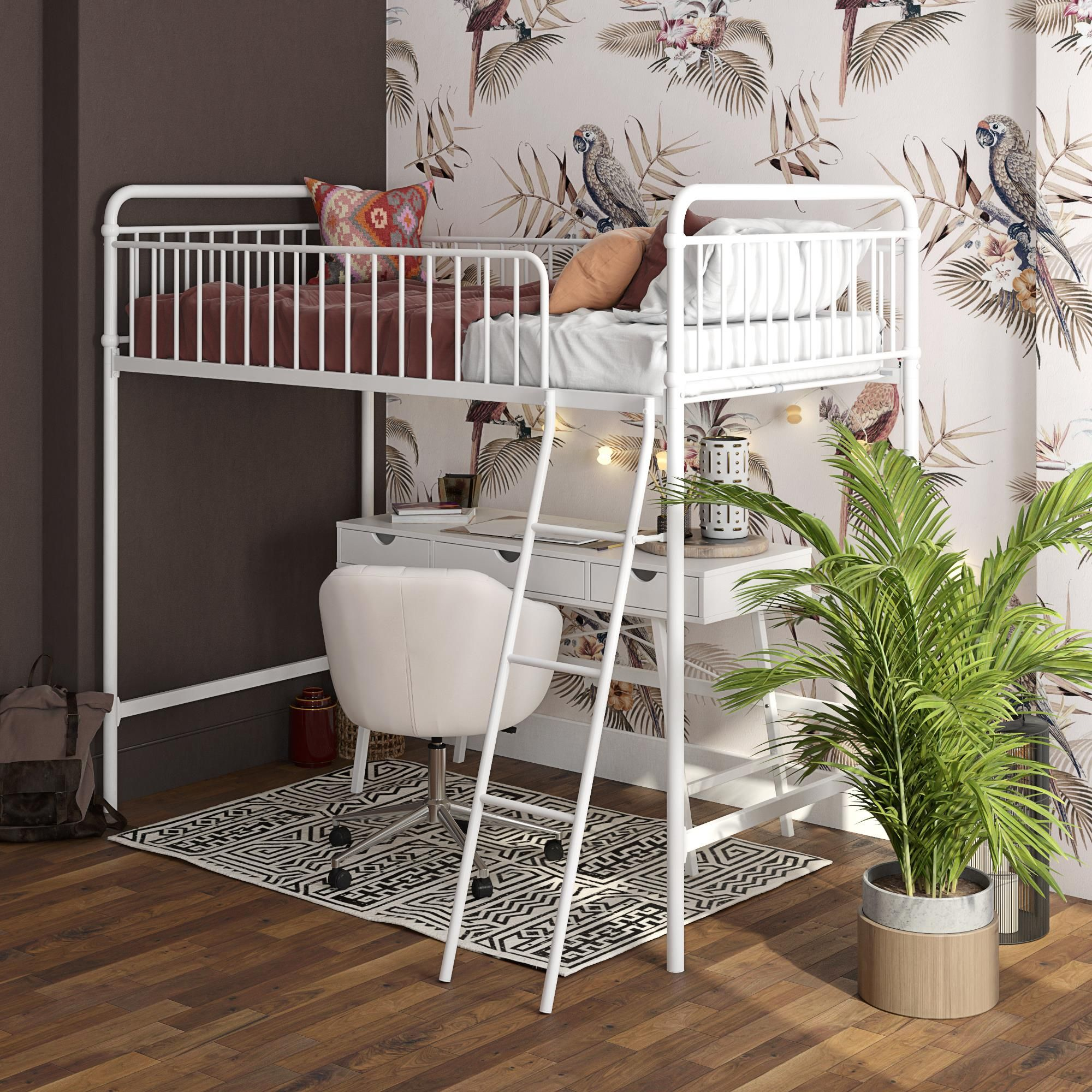 Better homes & gardens kelsey twin metal loft bed, white