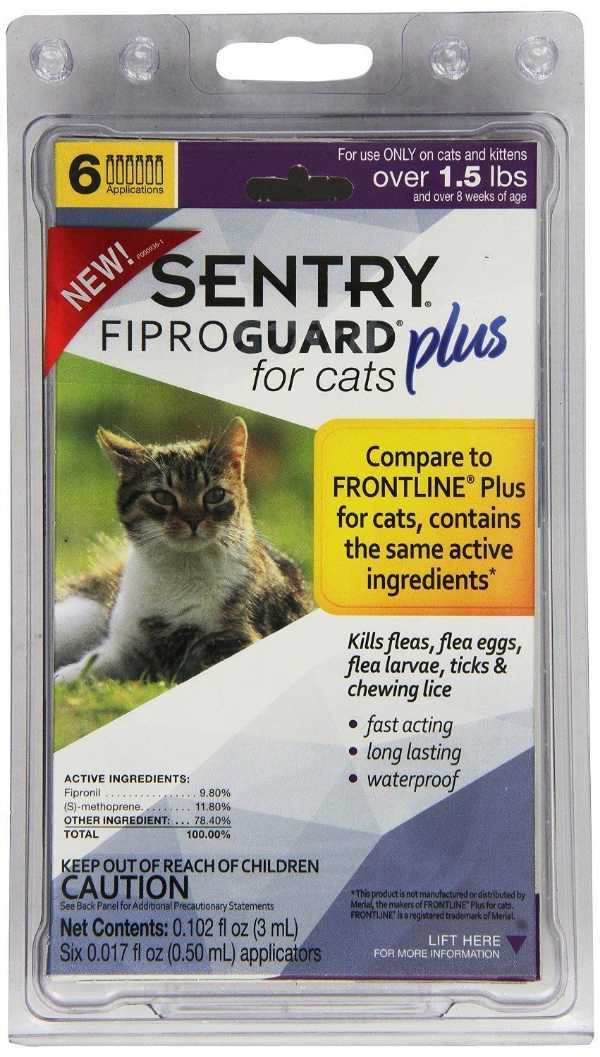 Sentry Fiproguard Plus For Cats And Kittens Over 1 5 Lbs 6